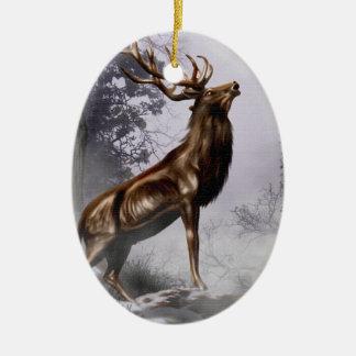 Macho del invierno adorno navideño ovalado de cerámica