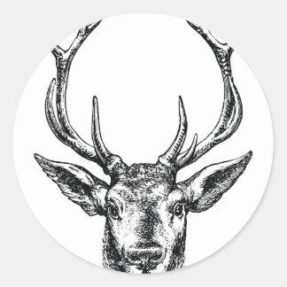 Macho del vintage o cabeza de los ciervos con las pegatina redonda