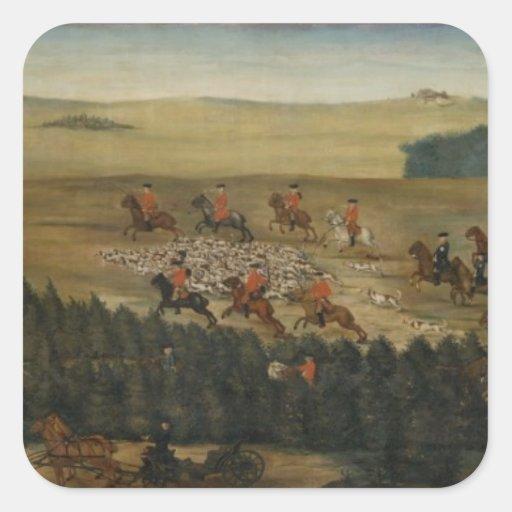Macho-hunting con Frederick Guillermo I de Prusia Calcomanias Cuadradas
