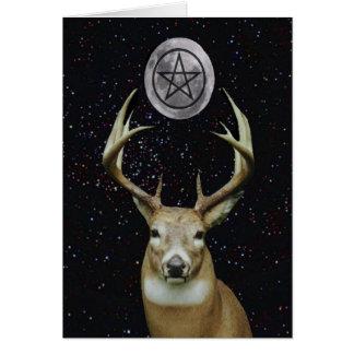Macho, luna y pentáculo paganos del solsticio de tarjeta de felicitación