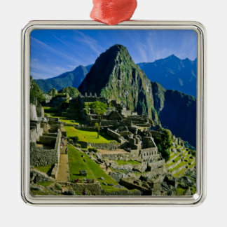 Machu antiguo Picchu, refugio pasado de los 2 Adorno Cuadrado Plateado