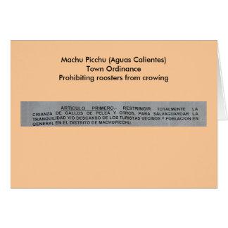Machu Picchu (Aguas Calientes) Town Ordinance Card