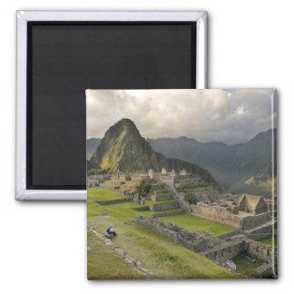 Machu Picchu, ancient ruins, UNESCO world 2 Inch Square Magnet