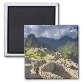 Machu Picchu, ancient ruins, UNESCO world 3 2 Inch Square Magnet