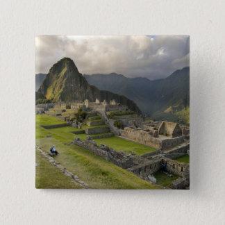 Machu Picchu, ancient ruins, UNESCO world Button