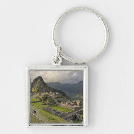 Machu Picchu, ancient ruins, UNESCO world Silver-Colored Square Keychain