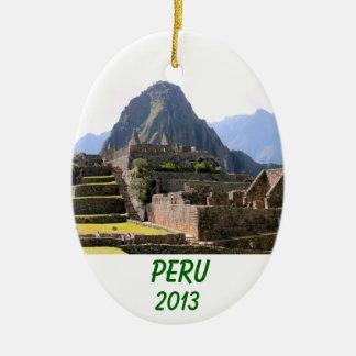 Machu Picchu arruina la pared del artesano de Perú Adorno Ovalado De Cerámica