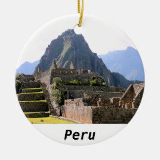 Machu Picchu arruina la pared del artesano de Perú Adorno Redondo De Cerámica