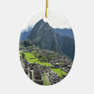 Machu Picchu Adorno Ovalado De Cerámica