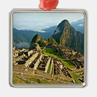 Machu Picchu Adorno Cuadrado Plateado