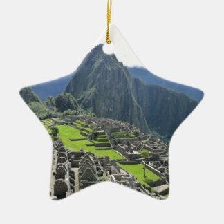 Machu Picchu Double-Sided Star Ceramic Christmas Ornament