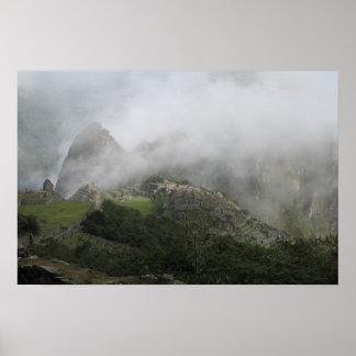 Machu Picchu foggy morning Print