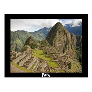 Machu Picchu, inca city in Peru black postcard