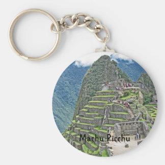 Machu Picchu Basic Round Button Keychain