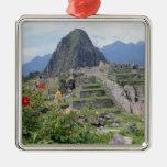 Machu Picchu, Perú Adorno Navideño Cuadrado De Metal