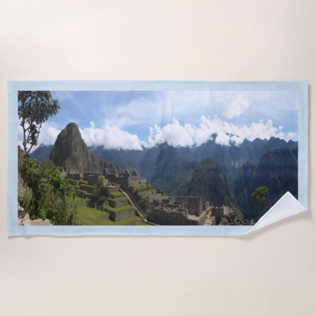 Machu Picchu Peru, blue border Beach Towel