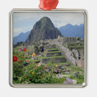 Machu Picchu, Perú Adorno Cuadrado Plateado