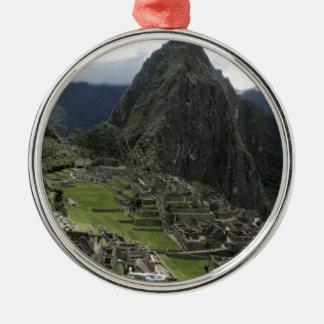 Machu Picchu Perú Adorno Redondo Plateado