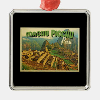 Machu Picchu Perú Adorno Cuadrado Plateado