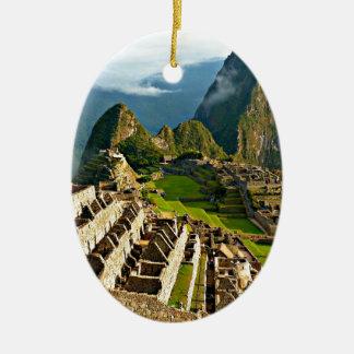 Machu Picchu, Peru Double-Sided Oval Ceramic Christmas Ornament