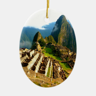 machu picchu peru inca Double-Sided oval ceramic christmas ornament