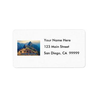 Machu Picchu Peru Address Label