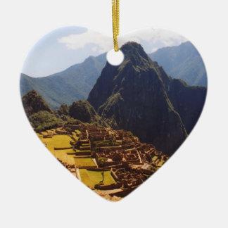 Machu Picchu Perú - Machu Picchu arruina salida Adorno De Cerámica En Forma De Corazón