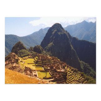 """Machu Picchu Peru - Machu Picchu Ruins Sunrise 5.5"""" X 7.5"""" Invitation Card"""
