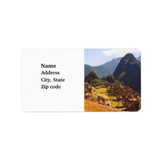 Machu Picchu Peru - Machu Picchu Ruins Sunrise Address Label