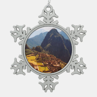Machu Picchu Peru - Machu Picchu Ruins Sunrise Snowflake Pewter Christmas Ornament