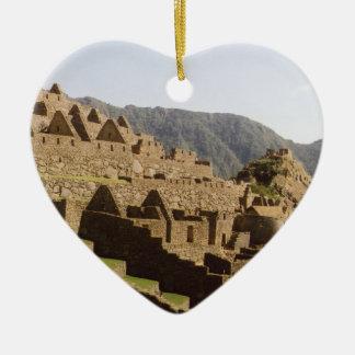 Machu Picchu Perú - opinión de la puerta de Sun de Adorno De Cerámica En Forma De Corazón