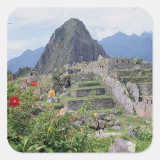 Machu Picchu, Perú Calcomanías Cuadradass