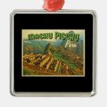 Machu Picchu Peru Square Metal Christmas Ornament