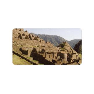 Machu Picchu Peru - Sun Gate View of Ruins Address Label