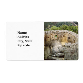 Machu Picchu Peru Temple of the Sun Ruins Label
