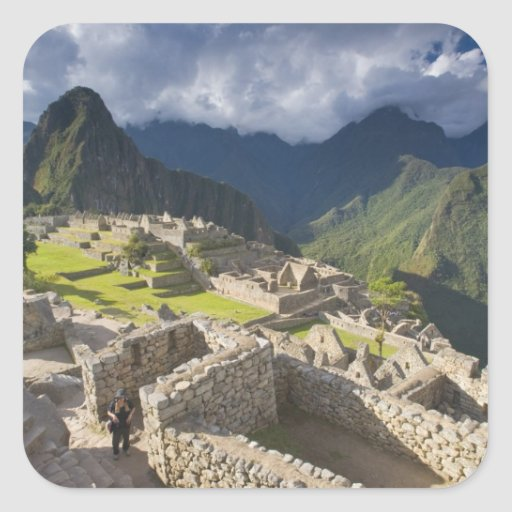 Machu Picchu, ruinas antiguas, mundo 3 de la UNESC Calcomanía Cuadradas