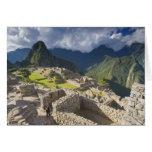 Machu Picchu, ruinas antiguas, mundo 3 de la UNESC Felicitaciones