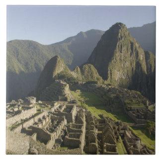 Machu Picchu, ruins of Inca city, Peru. Large Square Tile