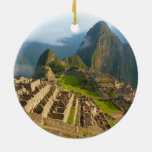 Machu Picchu ruins Double-Sided Ceramic Round Christmas Ornament