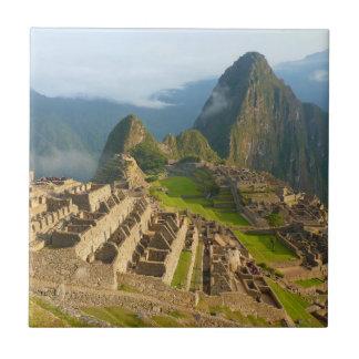 Machu Picchu ruins Small Square Tile