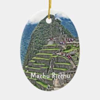Machu Picchu - tesoro de Perú Adorno Ovalado De Cerámica