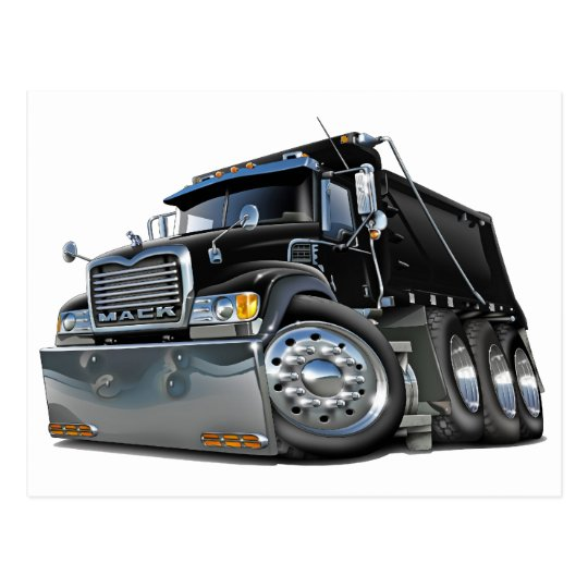 Mack Dump Truck Black Postcard