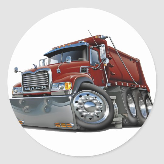Mack Dump Truck Maroon Classic Round Sticker