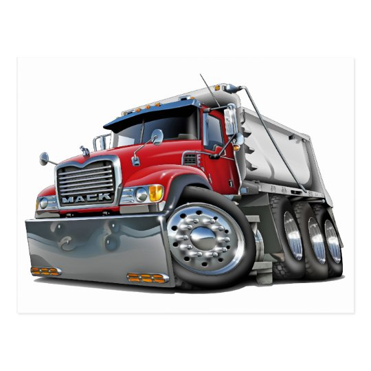 Mack Dump Truck Red-White Postcard
