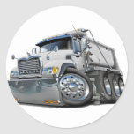 Mack Dump Truck White Classic Round Sticker