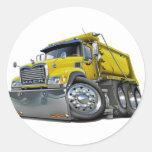 Mack Dump Truck Yellow Classic Round Sticker