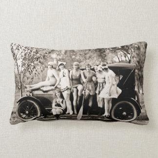 Mack Sennett Bathing Beauties and Tin Lizzie Throw Pillow