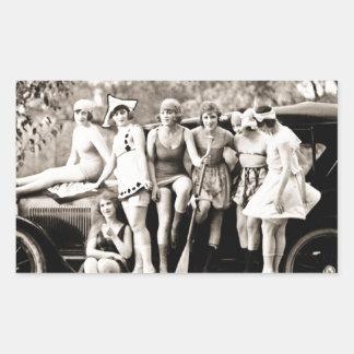 Mack Sennett Girls Bathing Beauty Queens Vintage Rectangular Sticker