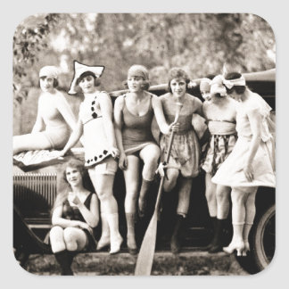 Mack Sennett Girls Bathing Beauty Queens Vintage Square Sticker