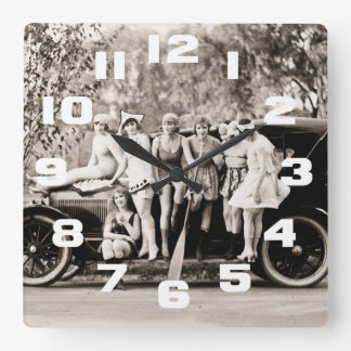 Mack Sennett Girls Bathing Beauty Queens Vintage Square Wall Clock